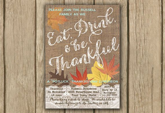rustic thanksgiving invitation, printable invite, fall leaves invite, burlap thanksgiving invite, PROOF in 3 business days