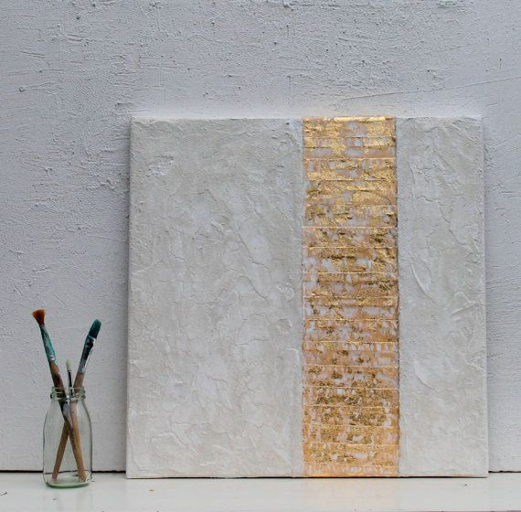 gold leaf white abstract painting office decor mixed media gold leaf wall decor art golden art contemporary wall art 16x16x06 - Contemporary Wall Decor