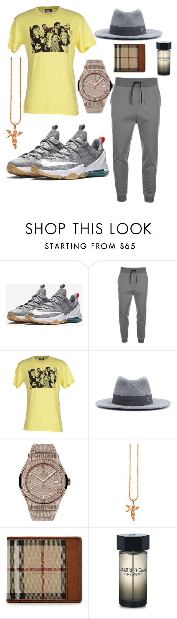 """""""Laid Back Flow"""" by michaelmartin714 ❤ liked on Polyvore featuring NIKE, HUGO, Bulk, Maison Michel, Hublot, Burberry, Yves Saint Laurent, men's fashion and menswear"""