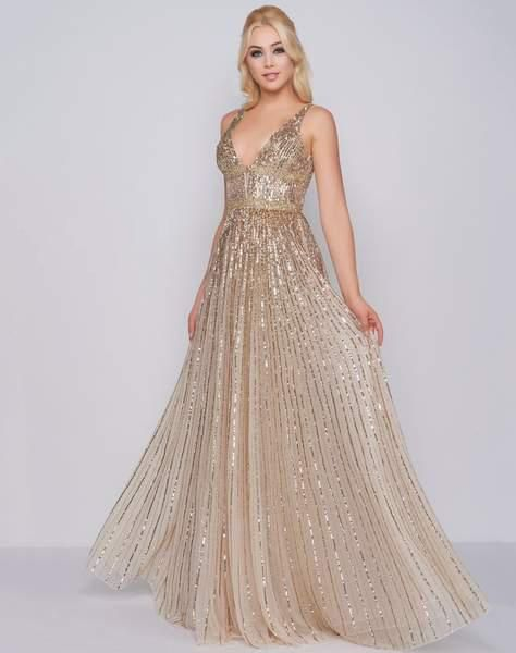df13a58b7b7 Mac Duggal Prom - 4906M Glimmering Sequin Embellished A-Line Prom Gown In  Gold and Neutral