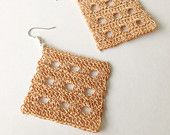 Crochet Diamond Shape Earrings in Light Brown Colour