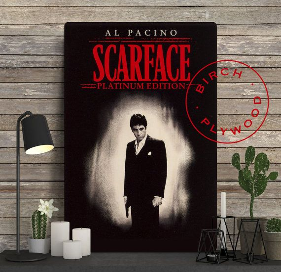 SCARFACE Movie Poster on Wood, Brian De Palma, Al Pacino, Michelle Pfeiffer, Print on Wood, Movie Posters on Wood, Wood Wall Deocr