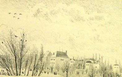 "ŠVABINSKÝ Maxmilián (1873-1962): ""Pohled z okna  na bubenečské vily"""