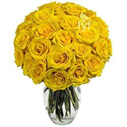 From You Flowers - Two Dozen Yellow Roses (Free Vase Included) for Valentine's Day