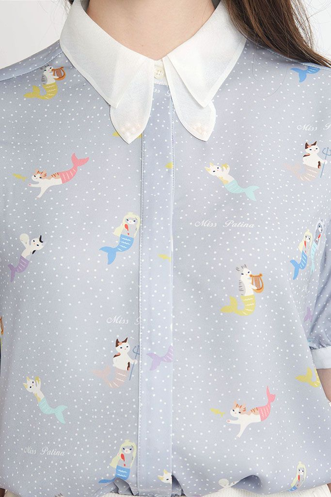 Mer-Cat Shirt (Mist Blue) -http://misspatina.com/