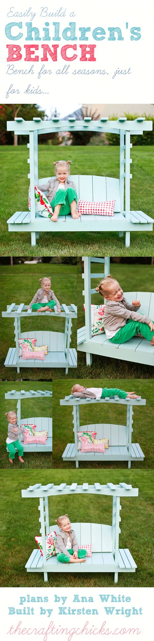 Build a Children's Arbor Bench! Cutest little bench!  thecraftingchicks.com #craftingchicks #anawhite #diy