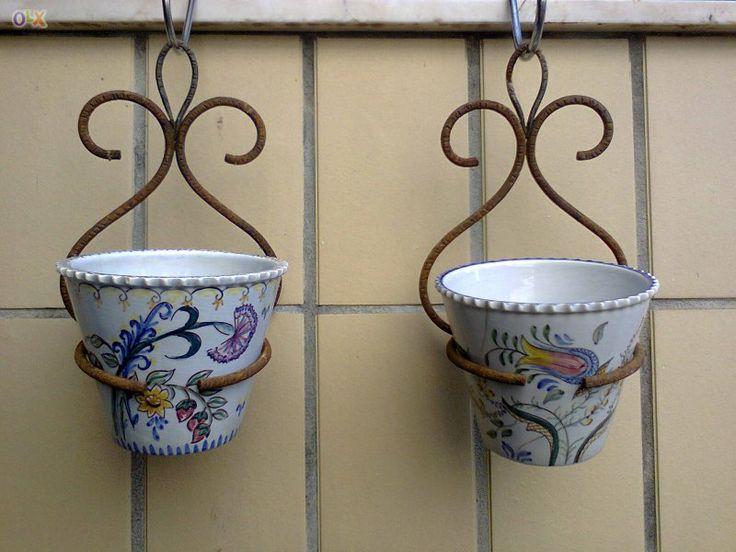 Par de Vasos Marcados Carvalhinho Antigos com Suporte em Ferro