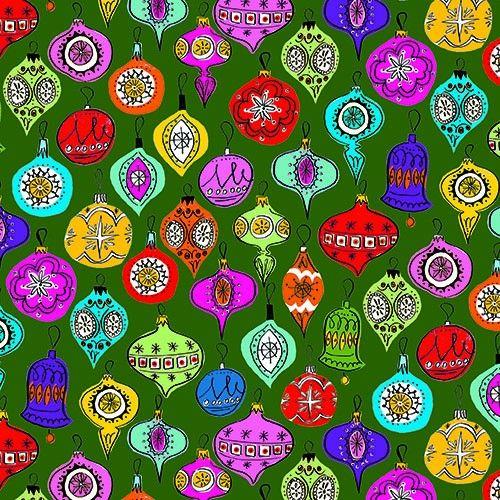 Makower Christmas 2015 Wonderland Baubles Green
