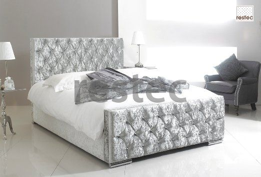 Florida Upholstered silver crush velvet bed frame in different size available…