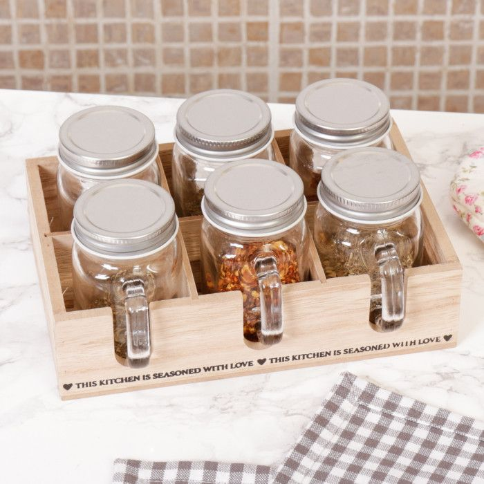 Rustic Country Kitchen Spice Rack with 6 Glass Jars