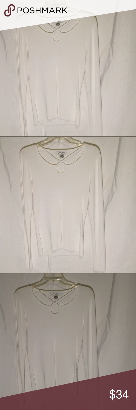 Canadian Graffiti Blouse This is a light sweater or blouse great for an pants or skirt great neck line shirt emphasis on it great for work or play time non smoking home bundle 2 or more items saves you 30 percent thank you for shopping our closet Size is M/M color white 🌷🌻🌷🌻🌷🌻🌷🌻 Canadian Grafiti Sweaters Crew & Scoop Necks