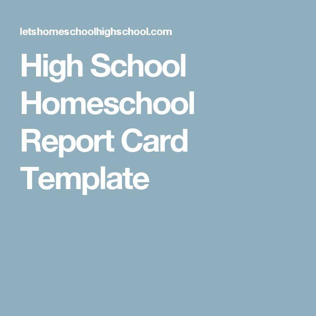 High School Homeschool Report Card Template