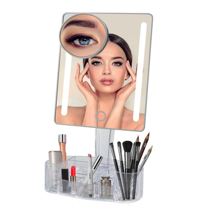 [NEW GENERATION] LED Makeup Mirror - ASSIS Touch Screen Makeup Mirror with LED Lights and Removable 7x Magnifying Mirror,Luxury Acrylic Makeup Organizer