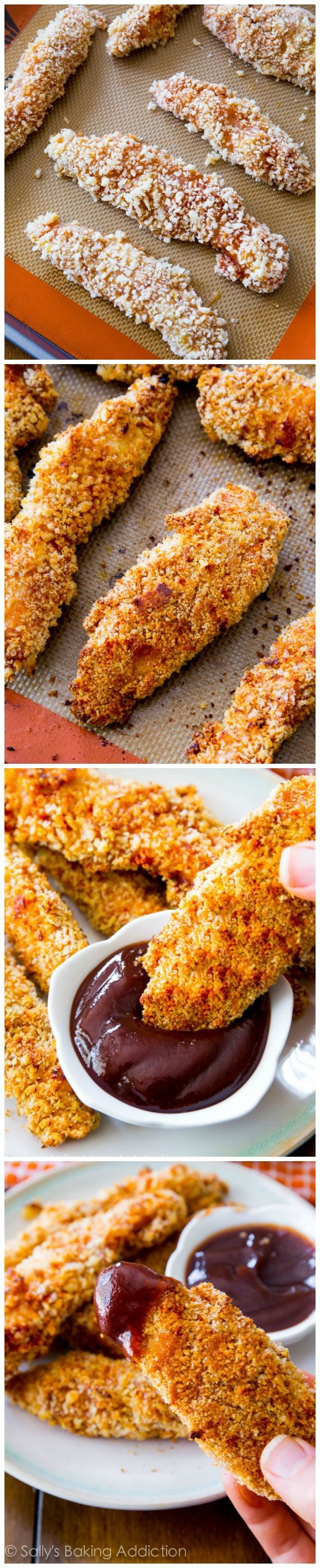 An easy, healthy recipe for baked honey BBQ chicken fingers. Your whole family will love them!