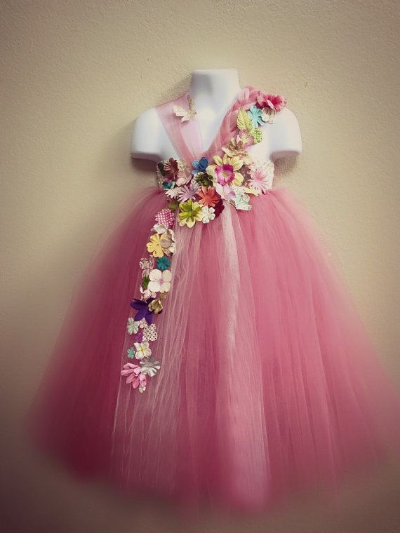 Pink Floral Tutu Dress, Flower Fairy tutu, Flower Girl Dress, Vintage Wedding, Toddler Fairy Costume