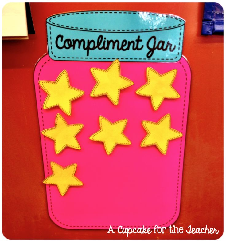My class has been catching compliments with foam stars. I like this background idea.A Cupcake for the Teacher