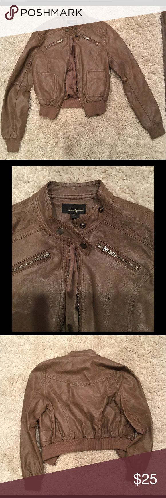 Tan Leather Jacket Forever 21 faux leather jacket. Great condition, super cute it just doesn't fit me anymore! Forever 21 Jackets & Coats