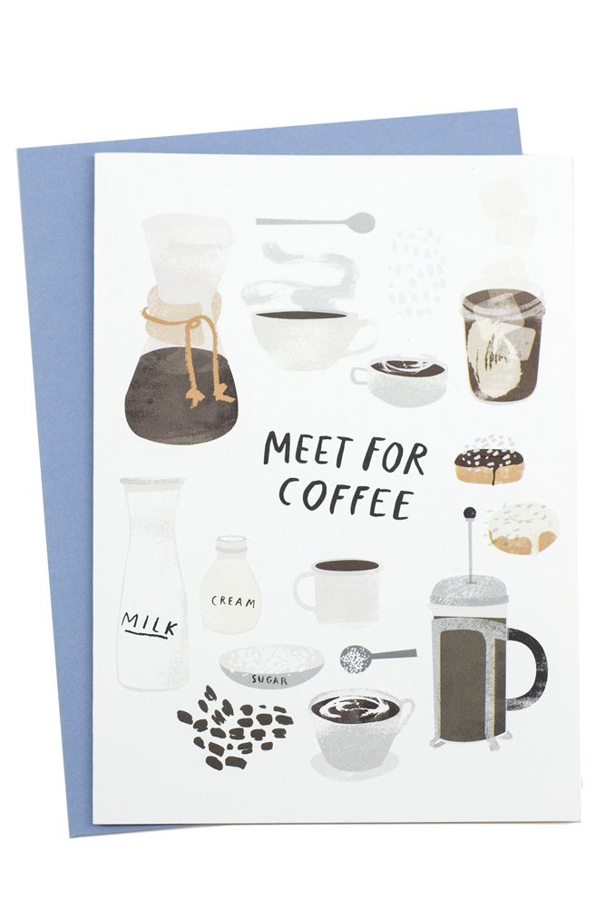 "Set a date for coffee (the ONLY way to wake up) with this beautifully illustrated card! Dimensions: Measures 6.25"" x 4.5"". Details: Includes coordinating envelope. Redcruiser is a collection of illust"