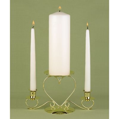 "-Set includes unity candle and two taper candles. Set includes white unity candle and two white taper candles or ivory unity candle and 2 ivory tapers. Unity candle measures 3"" x 9"" and tapers are 10"" long.  Candle Holder sold separately."