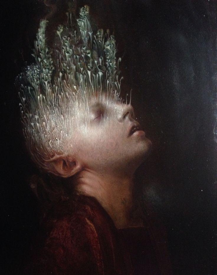 Il peso della porpora . Oil on wood , cm 31 x 26