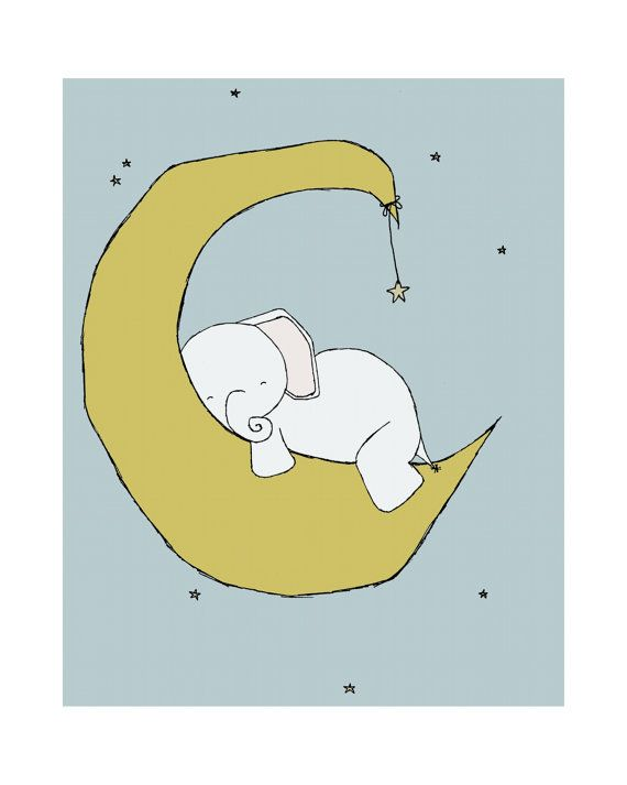 Elephant Nursery Art Print Nursery Decor by sweetmelodydesigns, $15.00