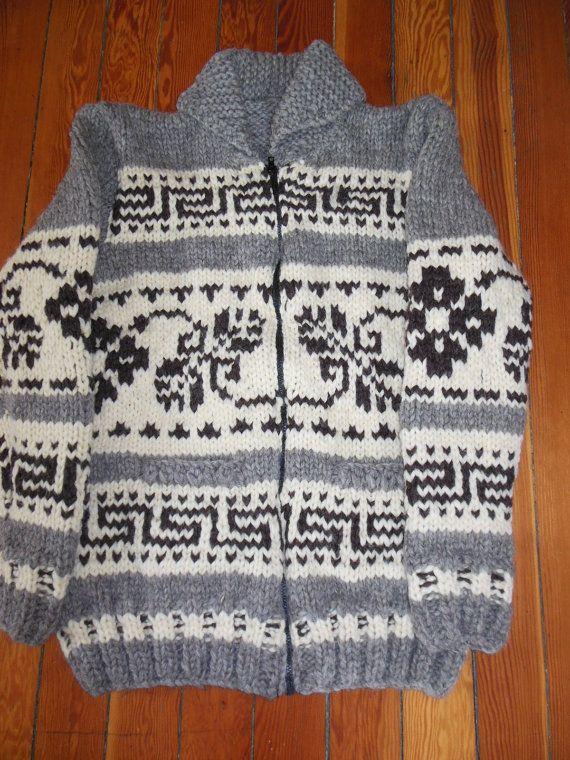 Cowichan Style Flower Motif Unisex Sweater by FunkyFernwood, $300.00