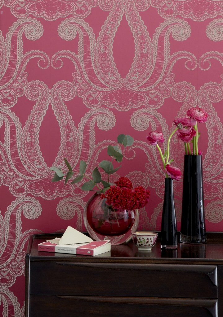 Yolande Magenta wall covering from @Clarke Weeks & Clarke : Fabrics - Wallcoverings via @Duralee