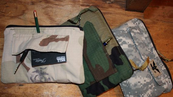 repurposed military, camouflage, uniform zippered clutch