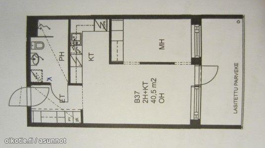 2 rooms with an open kitchenette (40,5m2) / Pikkukaksio avoimella keittiöllä (40,5m2) #pikkukoti #tehoneliöt #kaksio