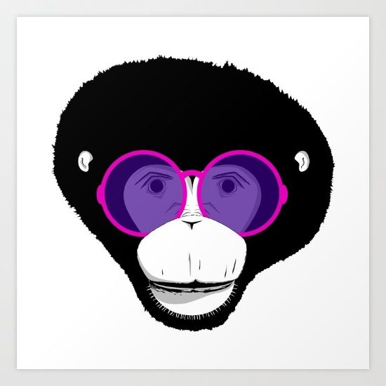 Cool monkey, glasses, illistration