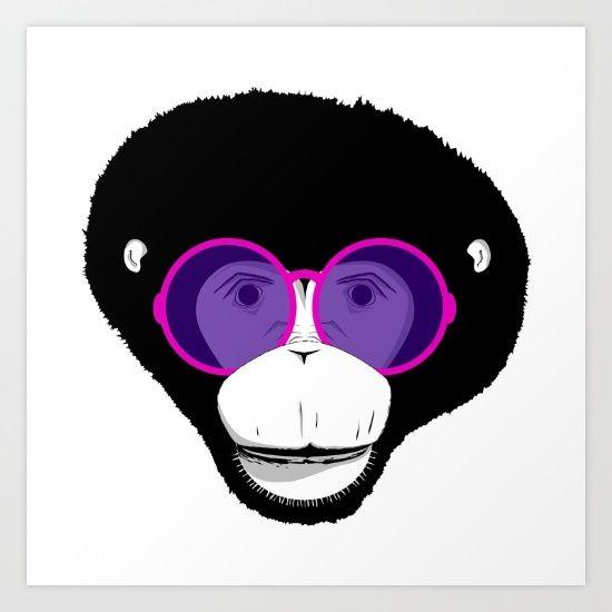 Cool monkey, glasses, illistration