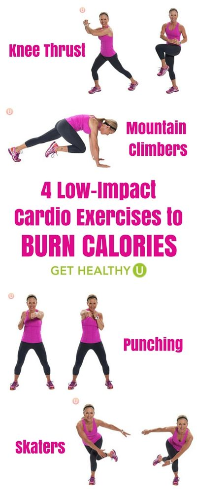 This workout gives you great moves – sans the jumping around – with great results. Performed with enough intensity, you're heart rate will soar and you will burn that fat! Check out these 4 low-impact cardio exercises to burn calories.