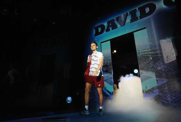 David Goffin Photos Photos - David Goffin of Belgium walks out for his men's singles match against Novak Djokovic of Serbia on day five of the ATP World Tour Finals at O2 Arena on November 17, 2016 in London, England. - Day Five - Barclays ATP World Tour Finals