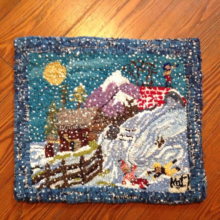 Primitive hooked rug ,designed and hooked by me! Kathy Baggett N2Hookin Cozy…