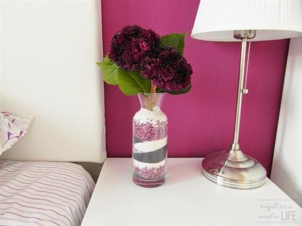 Vaso decorado com sal colorido de giz 007