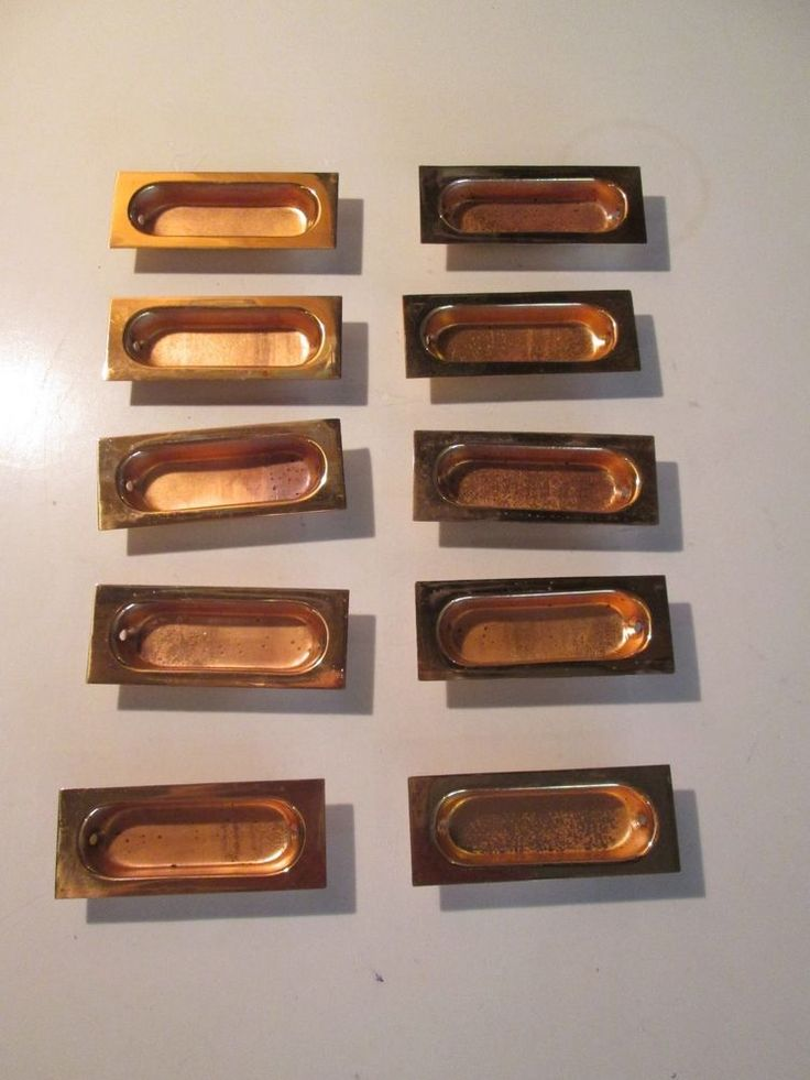 vintage lot of 10 copper recessed drawer pulls office file cabinet handles nos. beautiful ideas. Home Design Ideas