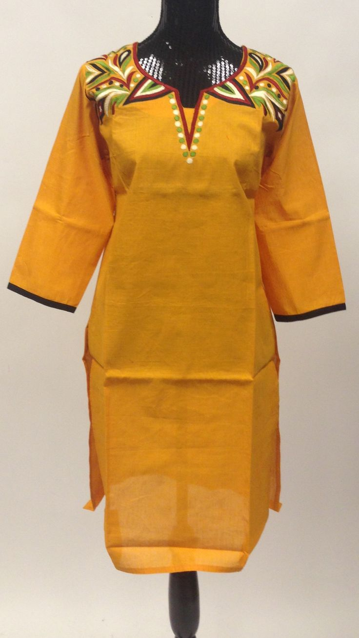 MP Cotton Long Kurti - Yellow