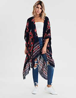 77565980e5 AEO Floral Midi Kimono, Navy in 2019 | Spring/Summer Fashion Trends ...