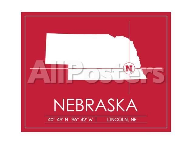 University Of Nebraska State Map By Lulu Sports Art Print 61 X 46 Cm Sports Art Print State Map Nebraska State