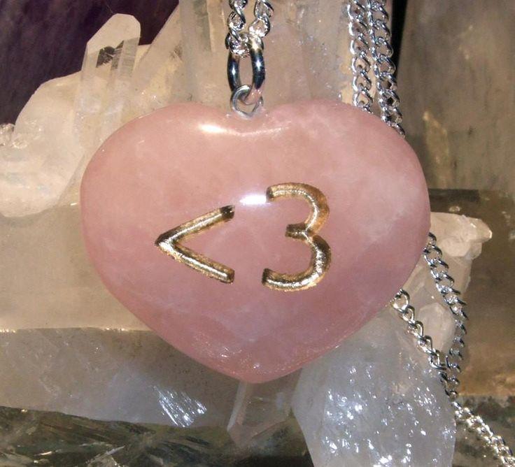 Less than 3 Emoticon Rose Quartz Heart Geek Necklace