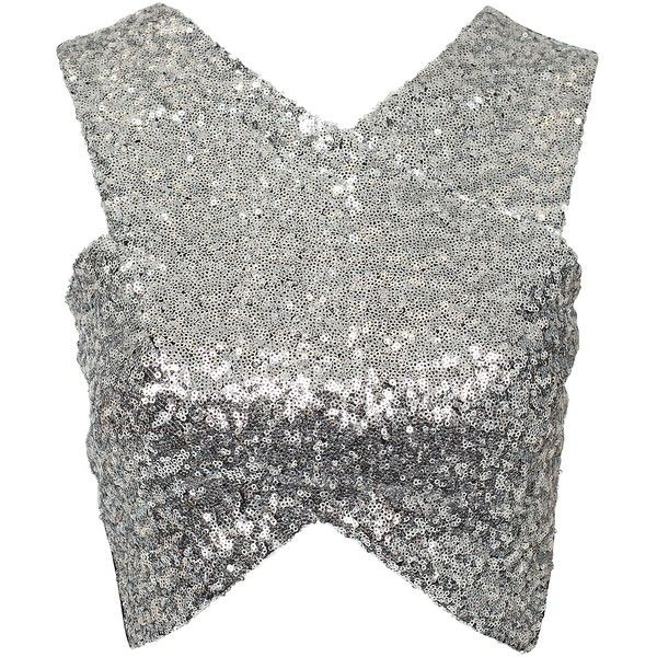 Nly Trend The Cover All With Sequin Top ($12) ❤ liked on Polyvore featuring tops, crop tops, shirts, silver, womens-fashion, wrap front top, stretch top, nly trend, tall shirts and tall tops