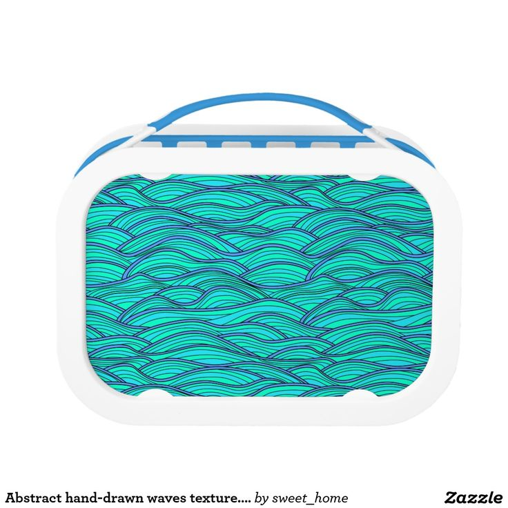 Abstract hand-drawn waves texture. Sea background. Lunch Box