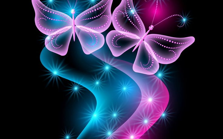 neon, abstract, неоновые, blue, glow, sparkle, pink, butterflies, бабочки