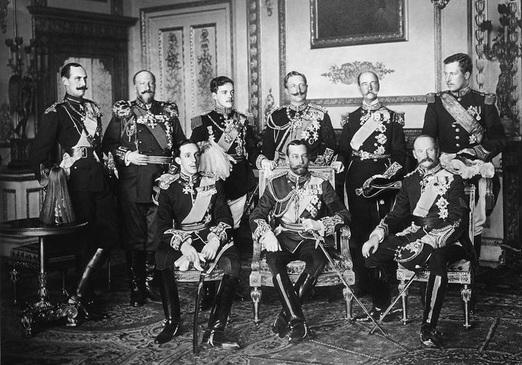 Nine European Sovereigns at Windsor for the funeral of King Edward VII in May of 1910, four years before the war began. Standing, from left to right: King Haakon VII of Norway, Tsar Ferdinand of Bulgaria, King Manuel II of Portugal, Kaiser Wilhelm II of the German Empire, King George I of Greece and King Albert I of Belgium. Seated, from left to right: King Alfonso XIII of Spain, King-Emperor George V of the United Kingdom and King Frederick VIII of Denmark.