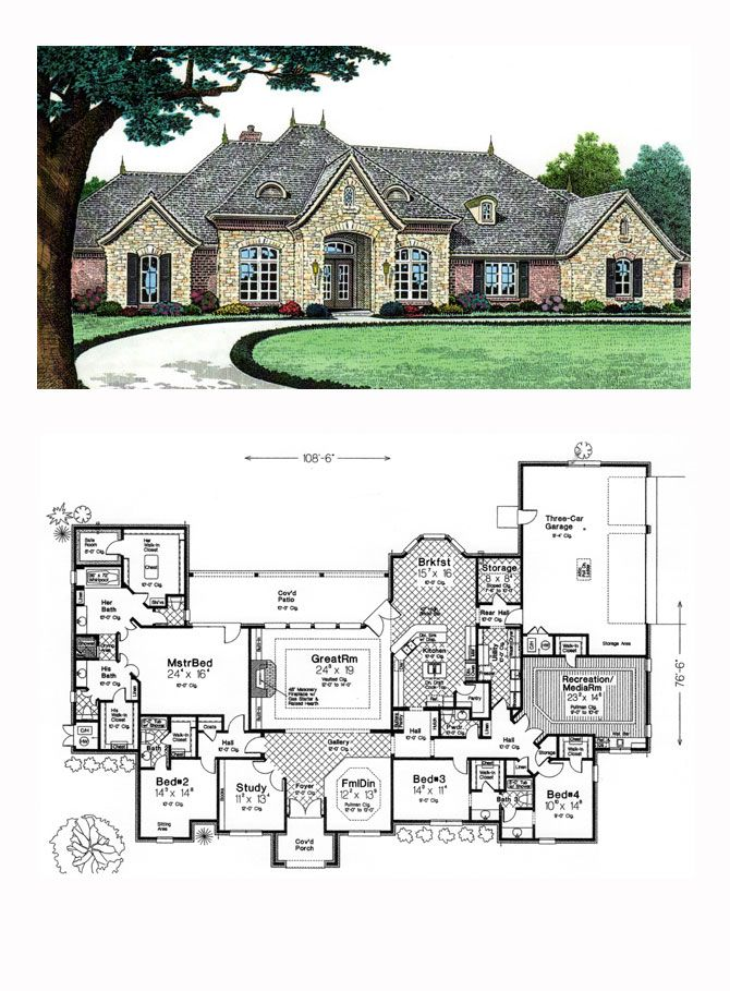 Luxury House Plan 66240 | Total Living Area: 4599 sq. ft., 4 bedrooms and 3.5 bathrooms. #luxuryhome