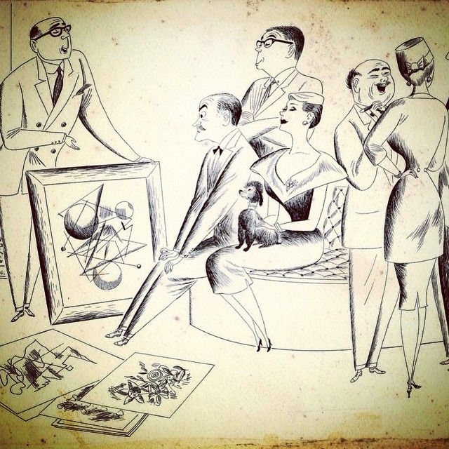 #ArtDealer #cartoon #fifties #50s #cocktailparty #artworld ~ #TheDealerMovie #museumviews