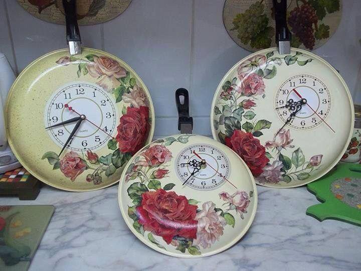 Decoupage van een pan als klok