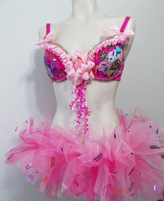 Happy Birthday Pink Rave Bra Ruffles Bows Rainbow by RevoltCouture