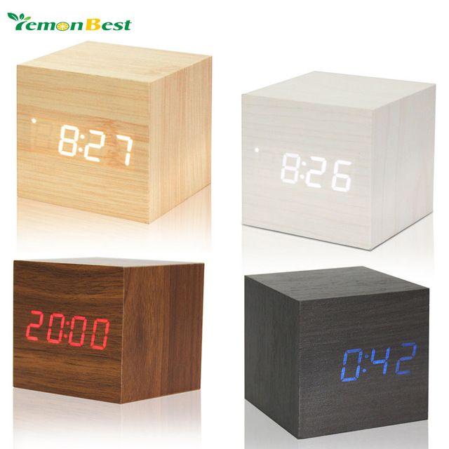 Cube houten LED Wekker despertador Temperatuur Solids Spraakbesturing LED display elektronische desktop Digitale klokken Kalender