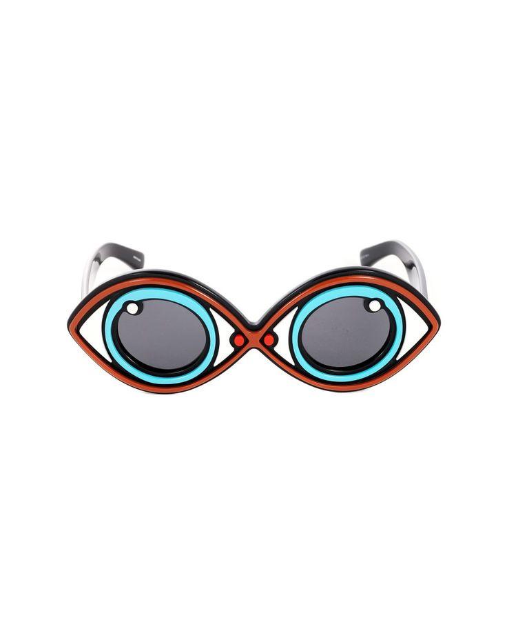 LINDA FARROW Linda Farrow sunglasses oval frame black lenses acetate material 100% UV protection including case and box